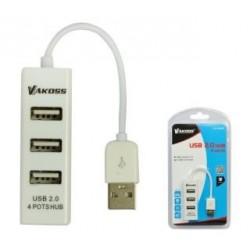 Hub USB VAKOSS TC-234UX 4xUSB 2.0 biały