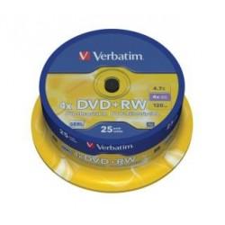 DVD+RW Verbatim 4x 4.7GB (Cake 25) MATT SILVER
