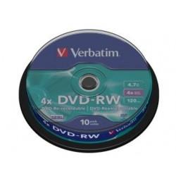 DVD-RW Verbatim 4x 4.7GB (Cake 10) MATT SILVER