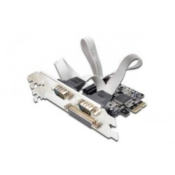 Kontroler COM+LPT Digitus PCIe, 2x RS-232/COM, 1x Parallel/LPT, Low Profile, Chipset MCS9901