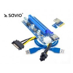 Karta rozszerzeń Riser Savio PCI Express 1x - 16x USB 3.0 Sata 0,6m