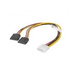 Kabel zasilający Lanberg Molex(M) - 2x SATA(F) 0,3m