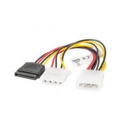 Kabel zasilający Lanberg Molex(M) - SATA(F) + Molex(F) 0,15m