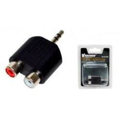 Adapter audio VAKOSS TC-A101K minijack 3,5mm stereo M - 2x RCA F czarny