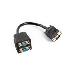Kabel adapter/splitter Lanberg AD-0020-BK VGA (M) - 2x VGA (F) 0,2m czarny