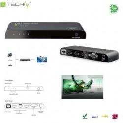Przełącznik Techly IDATA HDMI2-4K31 HDMI V2.0, 3/1, 4K2K UHD 3D z pilotem, czarny