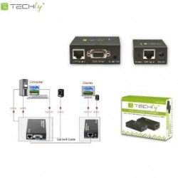 Extender VGA Techly IDATA EX-DL344 po kablu Cat.5/5e/6 1x1, czarny