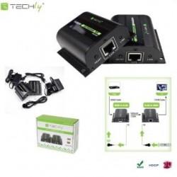 Extender HDMI Techly EXT-E70I po skrętce Cat. 5e/6/6a/7, do 60m, z odbiornikiem IR, czarny IDATA