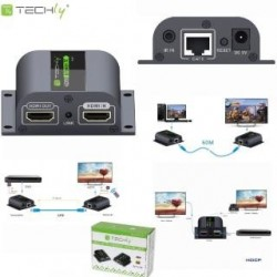 Extender HDMI Techly EX-HL21D po skrętce Cat. 6/6a/7, do 60m, Full HD z IR, czarny IDATA
