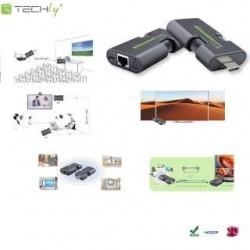 Extender HDMI Techly IDATA EXT-E70MI po skrętce Cat.5e/6/6a/7, do 50m, FullHD, 3D, czarny