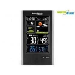 Stacja pogody bezprzewodowa GreenBlue GB520 DCF, ciśnienie, fazy księżyca, ładowarka USB, czarna