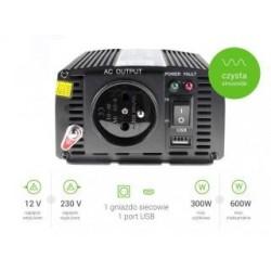 Przetwornica samochodowa Green Cell 12V do 230V, 300W/600W Pełna Sinusoida
