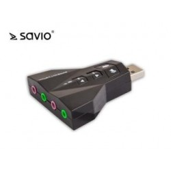 Karta dzwiękowa 7w1 Savio AK-08 Virtual 7.1CH, Plug and Play