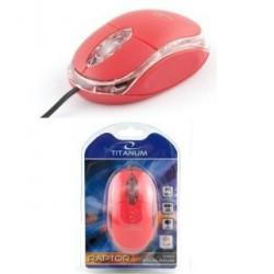 Mysz przewodowa Titanum 3D RAPTOR TM102R optyczna czerwono-przezroczysta