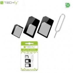 Adapter Techly karty SIM (nano, micro) + kluczyk I-SIM-3