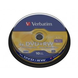 DVD+RW Verbatim 4x 4.7GB (Cake 10) MATT SILVER