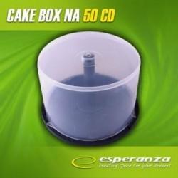Pudełko Esperanza Cake Box na 50 CD pakowane w kartonie bezbarwne