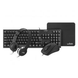 Zestaw przewodowy klawiatura + mysz + słuchawki + podkładka UGo biurowy