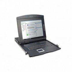 "Konsola modułowa 17"" LCD Digitus z touchpad KVM 8 portów 1U komplet kabli (8xDS-19231) klawiatura US"