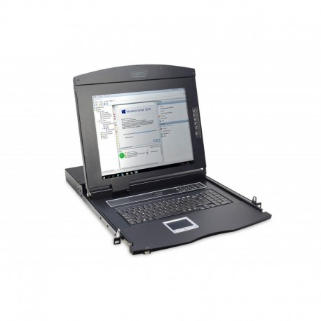"Konsola modułowa 17"" LCD Digitus z touchpad KVM 16 portów 1U komplet kabli (16xDS-19231) klawiatura US"