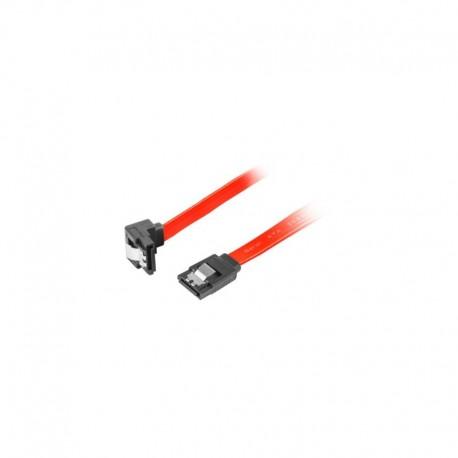 Kabel SATA Lanberg DATA III (6Gb/s) F/F 0,7m kątowy metalowe zatrzaski czerwony