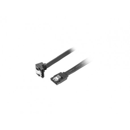 Kabel SATA Lanberg DATA III (6Gb/s) F/F 0,3m kątowy metalowe zatrzaski czarny