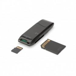 Czytnik kart Digitus 2-portowy USB 2.0 HighSpeed SD/Micro SD, kompaktowy, czarny