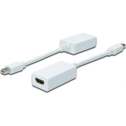 Kabel ASSMANN mini Displayport 1080p 60Hz FHD Typ mini DP/HDMI M/Ż biały 0,15m