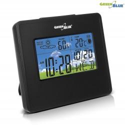 Stacja pogody GreenBlue GB148B zegar, kalendarz, fazy księżyca, czarna
