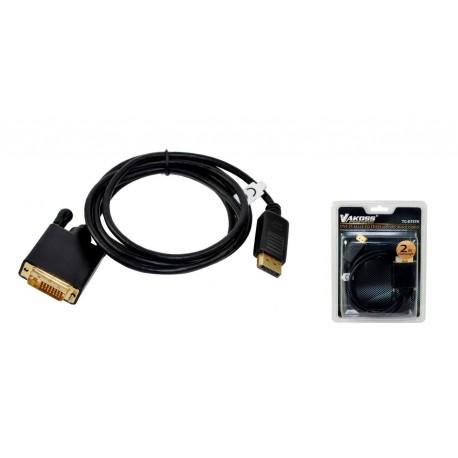 Kabel DisplayPort VAKOSS M - DVI-D M 2m TC-D757K czarny