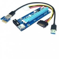 Karta rozszerzeń Riser Qoltec PCI-E 1x-16x | USB 3.0 | SATA/IDE MOLEX 4pin